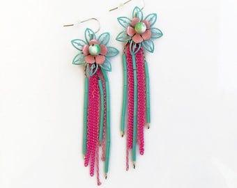 Tropical Flower Statement Earrings, Long Chain Earrings, Pink Blue Earrings