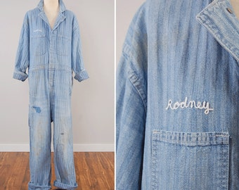 Vintage herringbone twill coveralls with chain stitching / RODNEYs old coveralls / Distressed faded repairs perfectly broken in
