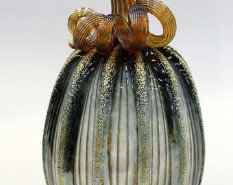 Hand Blown Glass Art Sculpture  Pumpkin Gourd Oneil 7619 Grey