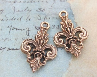 Fleur-de-lis charm - Antique gold - ornate - double sided - one pair - jewelry supplies