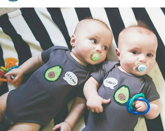 "Twin bodysuits ""Let's Avo-Cuddle"", Fun Cute Twin set of onesies, great baby shower gift for twins, onesies for twins"