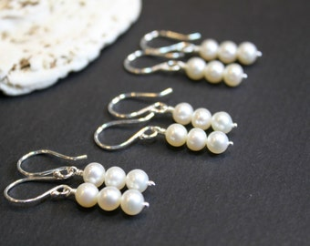 Bridesmaid Gift, 3 pairs of Pearl Sterling Silver Earrings, Handmade Minimalist Earrings