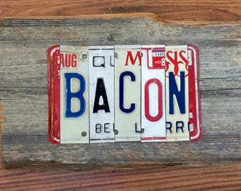 BACON license plate sign tomboyART art recycled upcycled pig BBQ