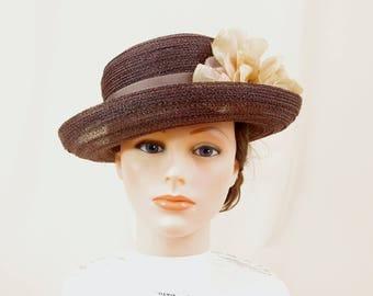 Cream and Brown Hat * Brown Porkpie Hat * Brown Fedora * Brown Cloche * Church Hat * Summer Hat * Straw Hat * Floral Hat * Panama Hat