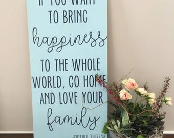 "Happiness by Mother Theresa - Large, Rustic Handpainted Sign - 12"" x 24"""