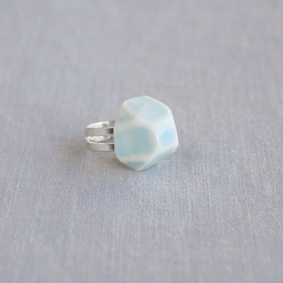 GEM ring. Geometric facet ring white porcelain, cerulean blue ceramic glaze, silver plated, trending jewellery