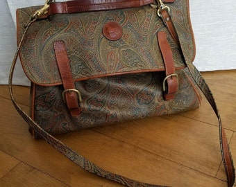 Vintage Jana Collections Leather and Coated Canvas Large Cinch Doctor's Bag