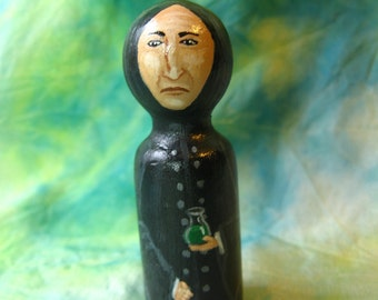 Kokeshi SEVERUS SNAPE Lookalike Doll - TINY 2 Inch Hand-Painted Wood Figure like Harry Potter Potions Master - Miniature Dolls jk Rowling hp