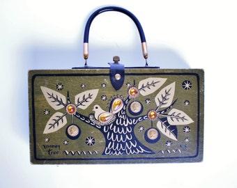 Vintage Retro 1966 Enid Collins EC Signed Money Tree Purse Olive Green Wooden Box Dove Handbag