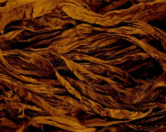 Rich Chocolate Recycled Sari Silk Thin Ribbon Yarn 5 or 10 Yards or Full Skein for Jewelry Weaving Spinning & Mixed Media