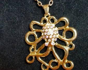 Gold tone Octopus Kraken necklace OAK