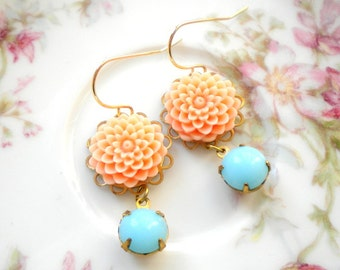 Gold Dangle Earrings Chrysanthemum Earrings Gold Plated Earrings Gold Flower Earrings Peach Drop Earrings Turquoise Stone Earrings