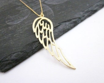 Wing Charm Necklace -- Guardian Angel Necklace -- Gold Wing Necklace -- Bird Wing Necklace -- Gold Angel Wing Necklace --Angel Wing Necklace
