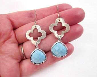 Silver & Light Blue Earrings -- Howlite Earrings -- Blue Howlite Earrings -- Blue Howlite Drop Earrings -- Clover Charm Earrings -Quatrefoil