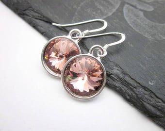 Blush Pink Earrings -- Blush Rose Earrings -- Blush Rose Pink Earrings -- Silver & Blush Earrings -- Blush Rose Swarovski Earrings