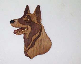 German Shepherd wood art wall hanging