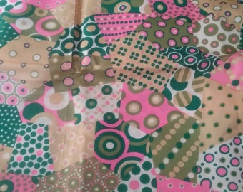 70's pink and green Abstract Silky Vintage Fabric Yardage