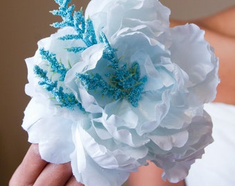 Arctic Blue Peony Hair Flower Clip