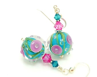 Turquoise Pink Earrings, Lampwork Earrings, Glass Earrings, Glass Bead Earrings, Beadwork Earrings, Unique Earrings, Geometric Earrings