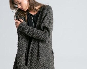 NEW Oversize Cardigan / Long Cardigan / Open Cardigan / Long Sweater Blazer / Wool Cardigan / marcellamoda - MC727