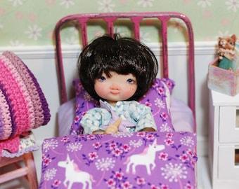 Bedding In Unicorns For Dolls Quilt Handmade Patchwork Diorama Irrealdoll Lati Nikki Britt Pukifee