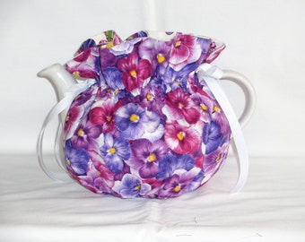Pretty Pansies Reversible  6 Cup Teapot Cozy