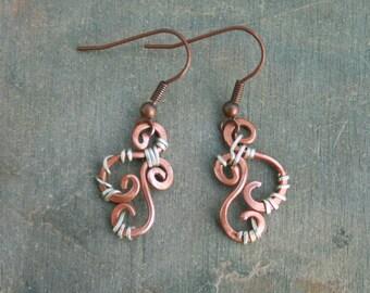 Mixed Metal Swirl Earrings, Spiral, organic, handmade,indie artist, sterling, hammered copper, ooak,Artist Direct,Lemurian Diamond, gifts