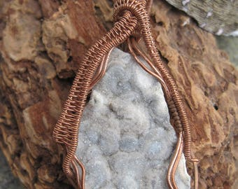 Gray Skies///Gray Druzy Calcedony and Sterling Silver Wire Wrap Pendant, ONe of a Kind, Handmade, Art