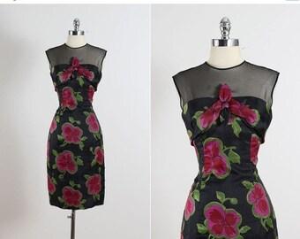 30% SALE Bold Blooms . vintage 1950s dress . vintage cocktail dress . 5521