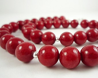 Red Necklace Beaded Red Mountain Jade Necklace Red Bead Necklace Silver Red Beaded Necklace Red Gemstone Necklace Short Red Strand