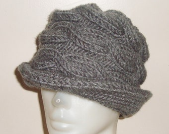 Womens Fedora Hat Grey Hat - Cable Beanie with Brim fedora Grey Knit Hat Women Accessories