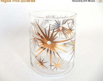 Mid Century Atomic 1960's Glass Starburst Sunburst Vase / Jar