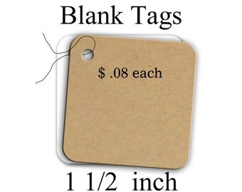 Blank Tags, Tags, Labels, Price Tags, Thank You tags, Gift Tags, 1 .5 Inch Blank Tags