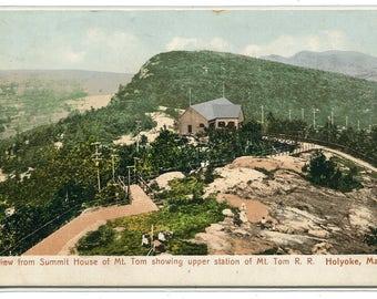 Mt Tom Summit Upper Station Incline Railroad Holyoke Massachusetts 1929 postcard