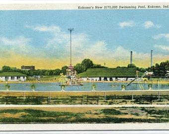 Swimming Pool Kokomo Indiana linen postcard