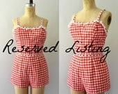 RESERVED LISTING -- 1950s Janzten Playsuit - Red Cotton Gingham Swimsuit