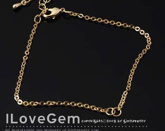 SALE / 20 pcs / NP-1892 Bracelet Pendant Chain, Gold plated, 235 SF, 3+3 inch and extender 1.2 inch / Flat cable chain, Delicate Chain