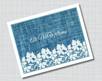 Custom Blue Denim & Lace Name Note Cards