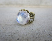 Rainbow Moonstone Ring Adjustable Brass