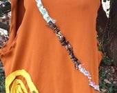 Copper cotton eco friendly vest OOAK plus size