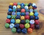 Kazuri Beads, 50 Kazuri Beads, Rainbow Coloured Ceramic Beads, Kazuri African Beads