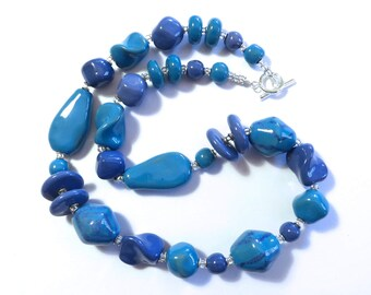 Kazuri Bead Necklace, Fair Trade Beads, Ceramic Necklace, French Blue/Cornflower Blue and Turquoise Kazuri Necklace