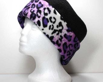 SALE - Purple Ombre Cheetah Print Brim and Black Fleece Hat Ladies Warm Hat Winter Hat Animal Print Hat Womens Fleece Hat - LAST ONE