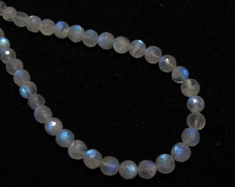 Rainbow Moonstone - AAA - High Quality - So Gorgeous Micro Cut Round Ball Beads Nice Blue Flashy Fire size 5.5 mm 8 inches  - 34 pcs