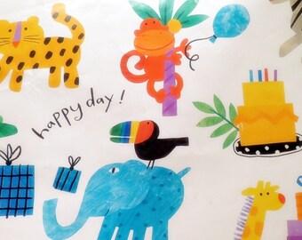 1 Sheet Vintage Happy Birthday Wrapping Paper Monkey Alligator Monkey Jungle Hallmark Gift Wrap Unused
