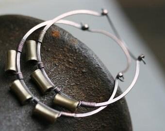 Rustic Large Brass Hoops earrings a1 - solid copper hoops earrings - oxidized metal - artisan handforged hoops - large copper hoops  brass
