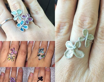 Stained Glass Wire Flower Rings