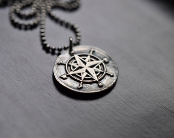Compass Wax Stamp Necklace, Oxidized Fine Silver