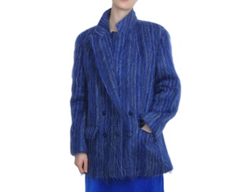 Jaeger Fuzzy MOHAIR and WOOL Blue Blazer | M / L | Vintage Designer Double Breasted Blazer Jacket