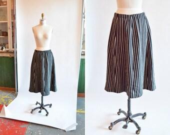 Vintage 1970s STRIPED wool aline skirt